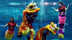 Imlek, Sea World Ancol Gelar Barongsai di Dalam Air